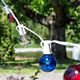 Patriotic Globe String Lights, 1.5 in G40, 50 ft White Wire C7, Red White & Blue by LSD