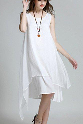Sans manches en mousseline de soie Swing irrégulière robe robe occasionnelle femmes white