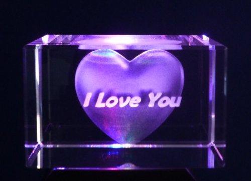 Cuore e i love you. Laser Block 50x 50x 80mm in una scatola di presentazione con immagine 3d incisione laser.. un regalo perfetto-ideale per compleanni, Natale......