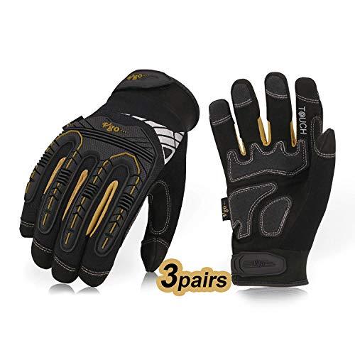 Vgo 3 Paare hohe Mechnische Arbeitshandschuhe, für große Belastungsarbeit, Vibration-Schutz-Handschuhe, Heavy Duty (10/XL, Schwarz + Gold, SL8849)