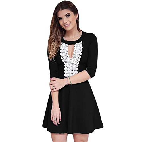 meinice Crochet pizzo Keyhole elegante nero Skater Dress Black Small