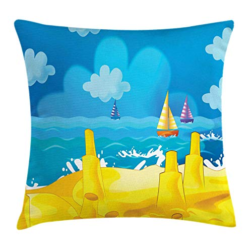 low Cushion Cover, Cartoon Scene with Sandy Beach Sandcastles Playground Boats and Cloudy Sky Print, Decorative Square Accent Pillow Case, Mustard Sky Blue,24 X 24 Inches ()