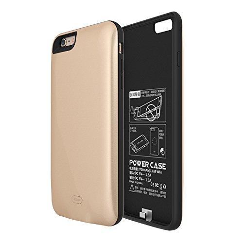 Batterie Coque iPhone 6 Plus Cover, Forhouse Battery Externe Rechargeable Case Coque 3800 mAh Li-polymer Power Bank Portable Chargeur Batterie Pack Etui Housse Antichoc Smart Chargeur Protecteur Backu Golden