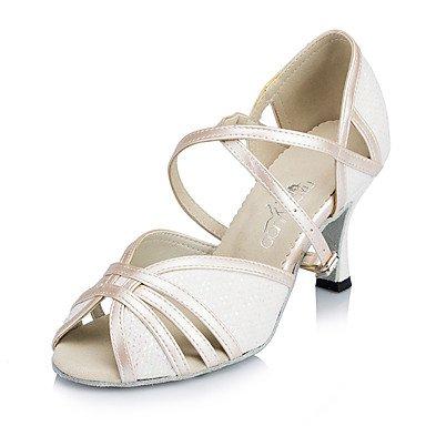 Scarpe da ballo-Personalizzabile-Da donna-Balli latino-americani / Moderno / Salsa-A stiletto-Di pelle / Brillantini-Nero / Rosa / Avorio White