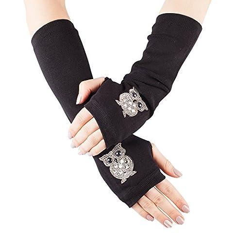 GLV173-Long Black Fingerless Winter Gloves with Diamante Owl Design