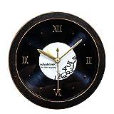 Alarm Clock Dreidimensionales Holz Wecker Retro Nostalgiker Schwarz Kleber Rekord CD Wecker Persönlichkeit Desktop Mute Uhr,Black
