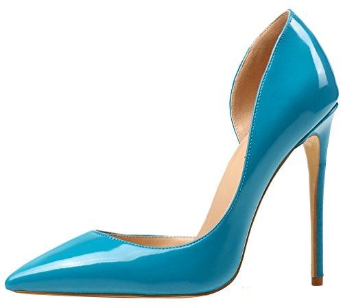 AOOAR Damen High Heels Mode Schuhe Türkis Lackleder Kleid-Partei Pumps EU 37