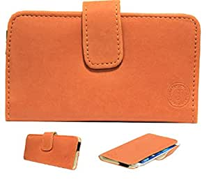 Jo Jo A8 Nillofer Leather Carry Case Cover Pouch Wallet Case For Spice Mi-549 Orange