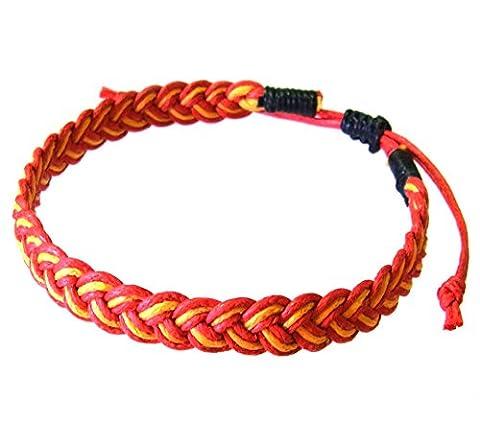 Artisan Asiatique Bracelet Fait Main 100% Ficelle de Coton Couleur Rouge Jaune
