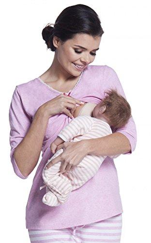 Zeta Ville - Women's Maternity Breastfeeding Robe Pyjamas Stripes Pattern - 394c