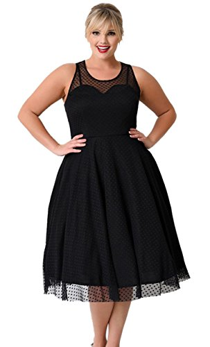 Oriention Women's 50s Plus Size Vintage Sexy Casual Party Cocktail Dresses Gauze V-Neck Sleeveless dress UK16-26 (22, Black)