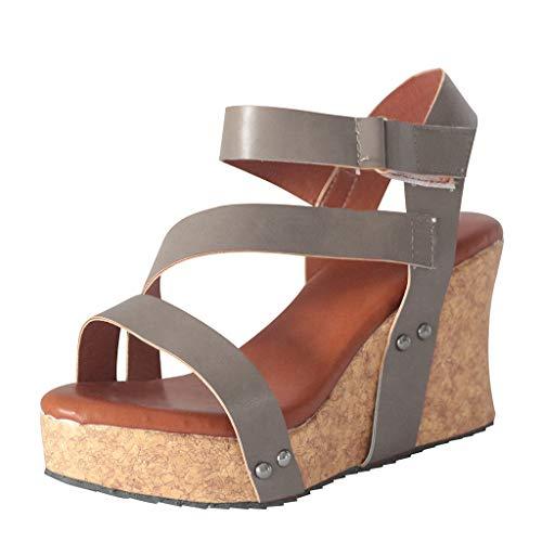 Heißer Verkauf Damenschuhe Offene Zehe Keil Flache Schuhe Leder Plateau Offene Zehe Keil Flache Schuhe Leder Plateau Römische Sandalen (Grau, 41) ()