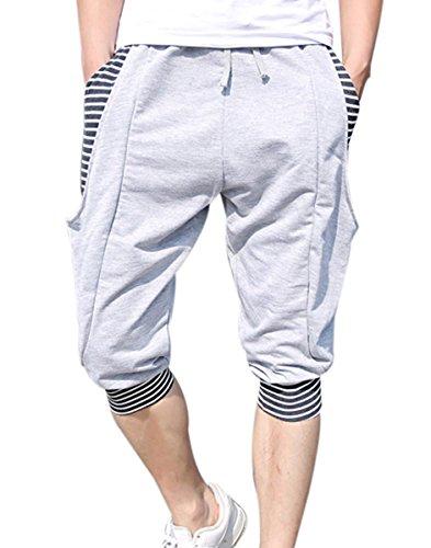 Panegy- Homme pantalon court à rayure- Jogging shorts avec cordon de serrage pour sport /plage-Gris-XL