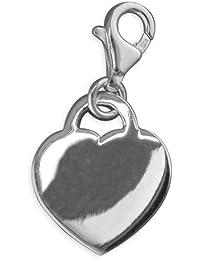Cierre de corazón engravable plano - broche de plata de ley para Thomas Sabo pulseras.
