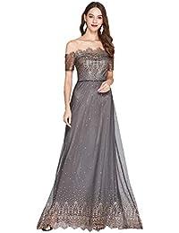 dd9453872 SONGYL Vestido Mujer para Dama Encaje De Noche Vintage Cóctel Fiesta Boda  Largo Sin Tirantes Elegante
