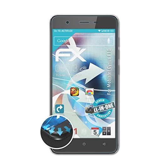 atFolix Schutzfolie passend für Mobistel Cynus F10 Folie, ultraklare & Flexible FX Bildschirmschutzfolie (3X)