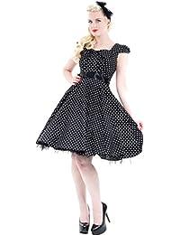 H&R Retro POLKA DOTS Pin Up Puff Sleeve PETTICOAT Kleid Dress Rockabilly