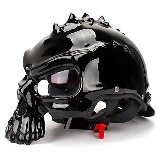 WYFDM Casco da Motociclista A Mezzo Faccia con Visiera Parasole,Black,L