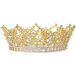 Frcolor Nupcial corona de la boda de la boda de la corona cristal nupcial de la reina de la reina tiara con el peine lateral
