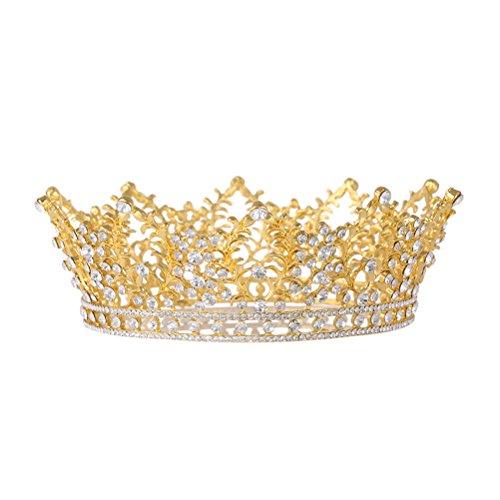 Frcolor Brautkrone Weinlese-Hochzeits-Krone-Kristallrhinestone-Braut-Königin-Tiara mit seitlichem ()