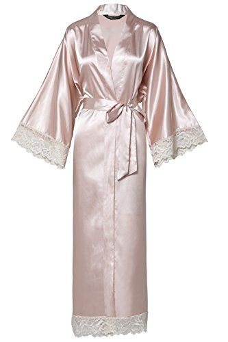 ArtiDeco Damen Morgenmantel Maxi Lang Seide Satin Kimono Kleid Einfarbiger Bademantel Damen Lange Robe Reine Farbe Schlafmantel 135 cm Lang (Nude Pink Lang)