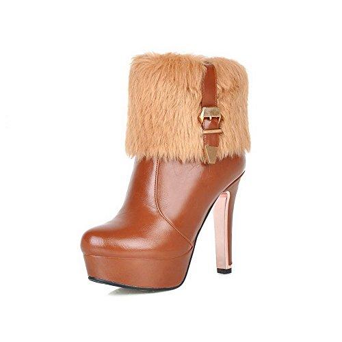 AgooLar Damen Blend-Materialien Hoher Absatz Niedrig-Spitze Reißverschluss Stiefel, Schwarz, 34