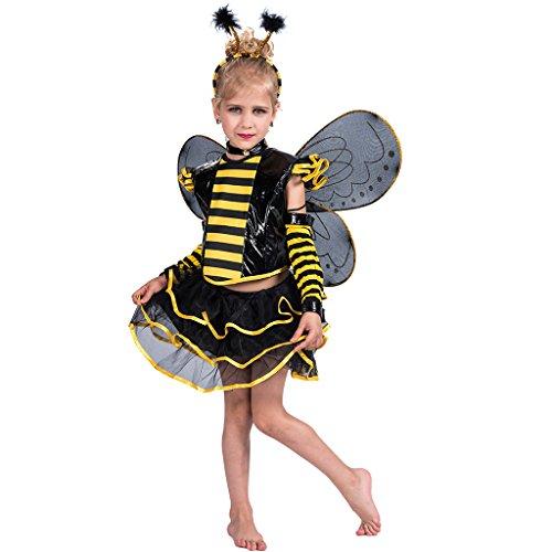 EraSpooky Mädchen Biene Kostüm Set für Halloween Karneval Fasching