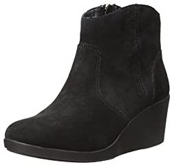 crocs Womens Leigh Suede Wedge Boot, Black, 10. 5 M US