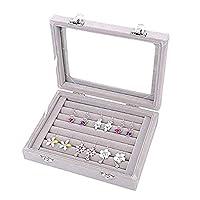 Jspoir Melodiz Velvet Ring Storage Box, 7 Slots Velvet Jewelry Rings Display Box Ornaments Tray Case Earring Organizer Holder for Woman Girls Birthday (Grey)