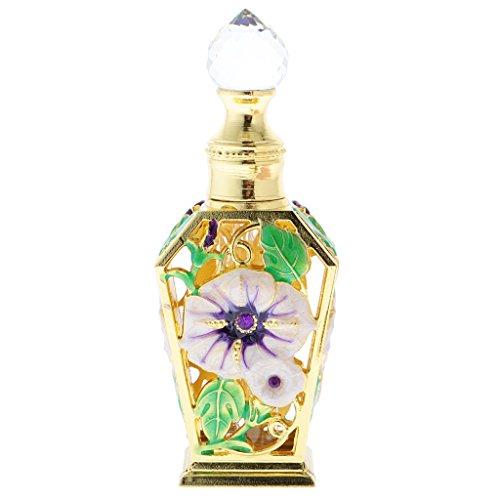 Kristall Parfüm-flasche (MagiDeal Gehobenen Kristall Tattoo Grünen Blüten Tropfer Parfüm Flaschen Setzen 40ml)