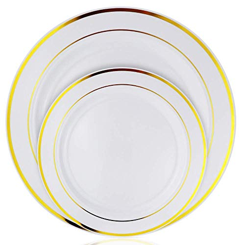 Stately Elegance Designs Besteck-Set, Kunststoff, goldfarben, 300 Stück, inkl. 100 Gabeln, 100 Messern und 100 Löffeln, Gold and White, 200 Piece Plate Set