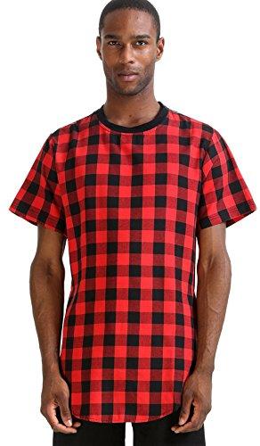 Pizoff Unisex Hip Hop Langes T-Shirt mit Karo Druckmuster Saum Reißverschluss P3113-red