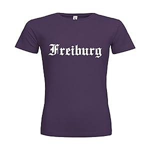 dress-puntos Woman T-Shirt Freiburg Schriftzug 20drpt15-w00922-322 Textil purple / Motiv weiss / Gr. L