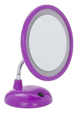 WENKO 3656444100 LED Kosmetikspiegel Style Purple - Standspiegel, Kunststoff, 17.5 x 28 x 12 cm, Lila von Wenko - Spiegel Online Shop