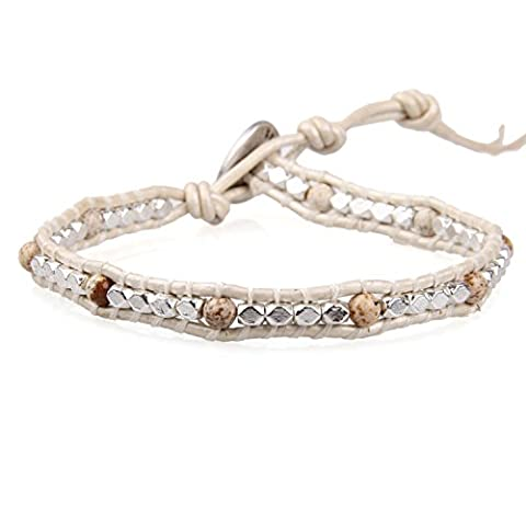KELITCH Silver Plated Copper Faceted Nugget Beads White Leather Bracelet with Picture-Jasper Stone