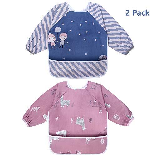 Viedouce bavaglino neonato con maniche, impermeabile bavaglino manica lunga, bavaglino bandana drool con tasca frontale, grembiule bavaglino per ragazzi ragazze da 6 mesi a 3 anni (2 pacchi)
