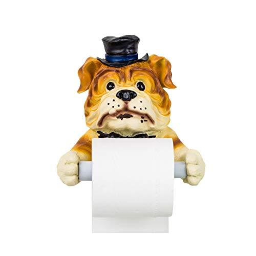 Llhycls czjia attaccapanni da parete per portapenne da bagno creativo simpatico cane porta rotolo di carta marrone 19x19cm