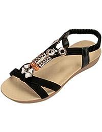Damenschuhe Dasongff Frauen Sommer Bohemia Sandalen Flache Peep-Toe Perlen Schuhe Gummiband Sandaletten Bequeme...