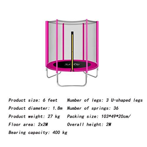 HBWJSH Familientrampolin Mit Sprungmatten-Sicherheitsnetzabdeckung 6 Fuß (Color : Pink)