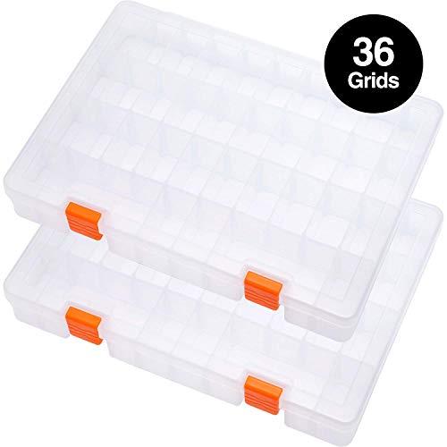 SOMELINE Sortierboxen Einstellbar Sortimentskasten für Kleinteile Perlen Ohrringe Plastik Schmuckkasten Aufbewahrungsboxen(2 Stck)