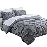 King , Grey : Ucharge Unique Pinch Pleat Pintuck Duvet Cover Set,3 Pieces Decorative Stylish Brushed Microfiber Bedding Set With Zipper and Corner Ties (King Grey)