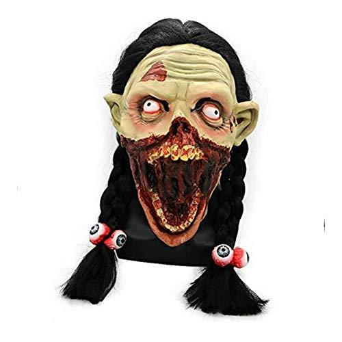 Kostüm Eishockey Mädchen - WANG XIN Tricky Toy Horror Braid Grimasse Mädchen Maske Cosplay Helm Kostüm Requisiten Halloween Tricky Party Supplies