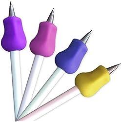 Bolígrafos ergonómica para lápices, mango verdickung, soporte para lápiz, varios colores para diestros y zurdos, color 4 4 PCS