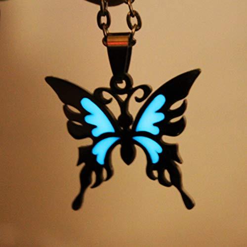 YANOAID Glühende Halskette Schmetterling Halskette Edelstahl Glühen In Der Dunklen Nacht Fluoreszierende Kinder Geschenke Frauen Mädchen (In Glühen Halskette Der Dunklen)