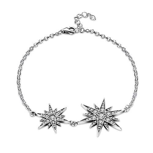 MingXinJia S925 Sterling Silber Retro Klassischen Herrenhaus Armband, Weiß