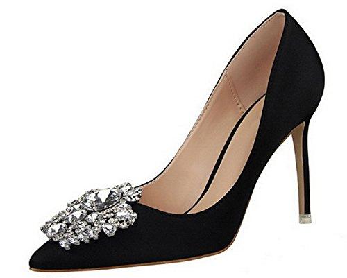 YCMDM Femmes Chaussures Nouveau Pointed Talons hauts Fine Avec Simple Chaussures Chaud Basse Chaussures De Mariage Chaussures De Mariage Black