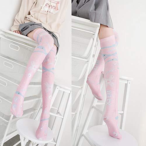 DDDAA Mode Frauen Mädchen Nylon Strümpfe Lange Strümpfe Über Knie Oberschenkel Hohe Schule Rosa Cartoon Strumpf (Knie-hohe Socken Mädchen-rosa)