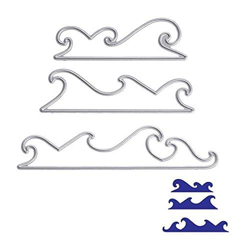Dairyshop 3pcs Mer Wave DIY Coupe Dies Pochoirs Scrapbooking Album de carte papier gaufrage Craft