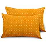Ahmedabad Cotton 2 Piece 144 TC Cotton Standard Pillow Cover/Case Set - Orange