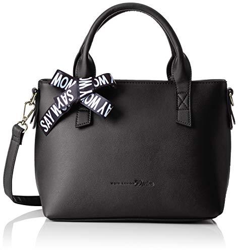 TOM TAILOR Denim Shopper Damen, Tyra, Schwarz, 29x19x10.5 cm, Schultertasche, Tom Tailor Handtaschen Damen